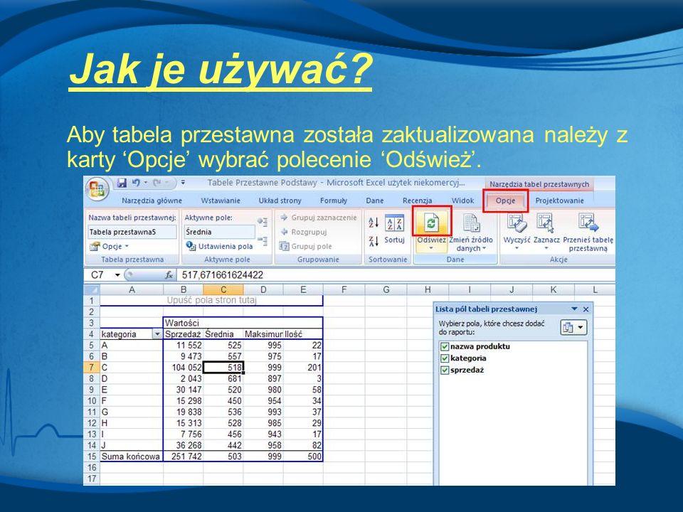 Aby tabela przestawna została zaktualizowana należy z karty 'Opcje' wybrać polecenie 'Odśwież'. Jak je używać?