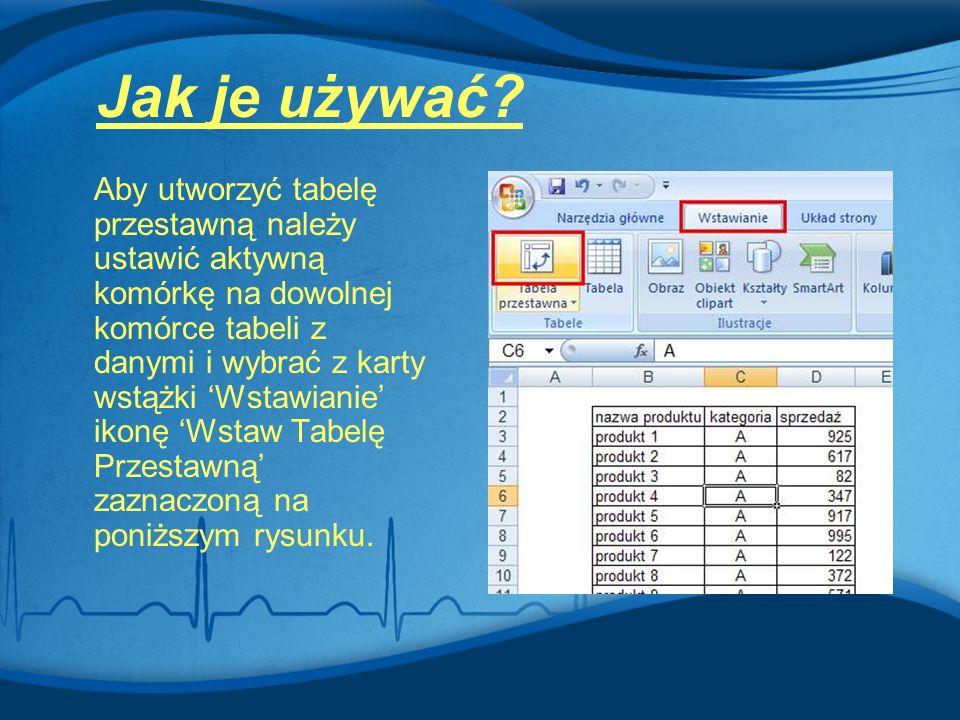 Aby utworzyć tabelę przestawną należy ustawić aktywną komórkę na dowolnej komórce tabeli z danymi i wybrać z karty wstążki 'Wstawianie' ikonę 'Wstaw T