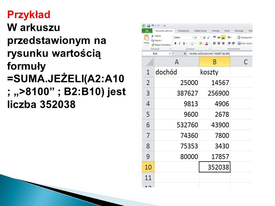 """Przykład W arkuszu przedstawionym na rysunku wartością formuły =SUMA.JEŻELI(A2:A10 ; """">8100"""" ; B2:B10) jest liczba 352038"""