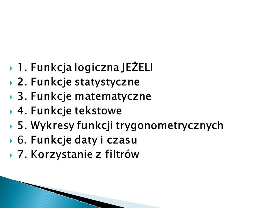  1. Funkcja logiczna JEŻELI  2. Funkcje statystyczne  3. Funkcje matematyczne  4. Funkcje tekstowe  5. Wykresy funkcji trygonometrycznych  6. Fu