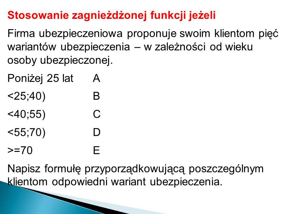 Zadanie Otwórz plik Przykład2.xls.