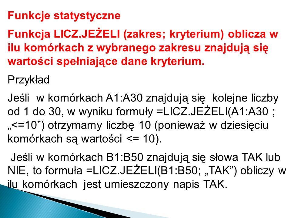 Funkcje statystyczne Funkcja ILE.LICZB (zakres komórek) lub ILE.LICZB(wartość1; wartość2 …) oblicza ile komórek zawierających liczby jest na liście argumentów.