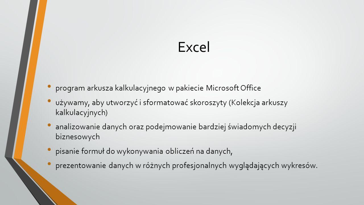 Excel program arkusza kalkulacyjnego w pakiecie Microsoft Office używamy, aby utworzyć i sformatować skoroszyty (Kolekcja arkuszy kalkulacyjnych) analizowanie danych oraz podejmowanie bardziej świadomych decyzji biznesowych pisanie formuł do wykonywania obliczeń na danych, prezentowanie danych w różnych profesjonalnych wyglądających wykresów.