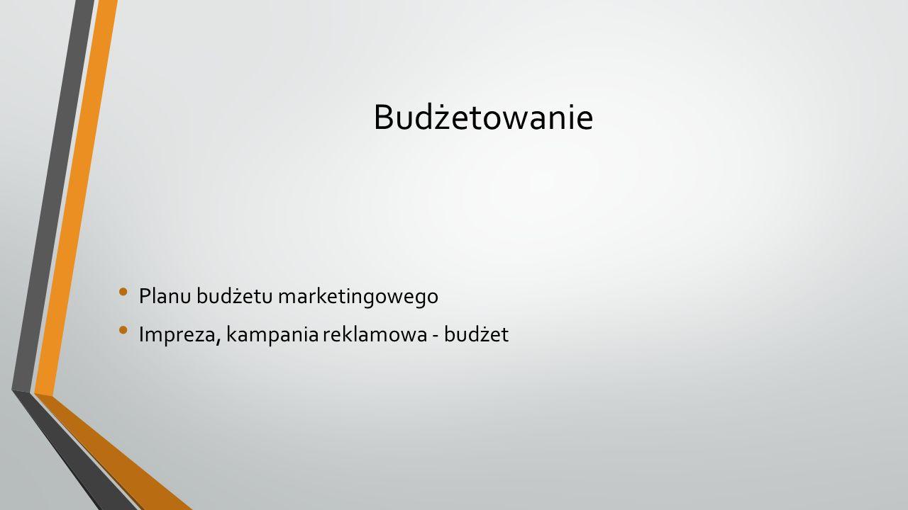 Budżetowanie Planu budżetu marketingowego Impreza, kampania reklamowa - budżet