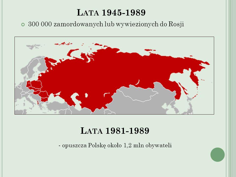 L ATA 1945-1989 300 000 zamordowanych lub wywiezionych do Rosji L ATA 1981-1989 - opuszcza Polskę około 1,2 mln obywateli