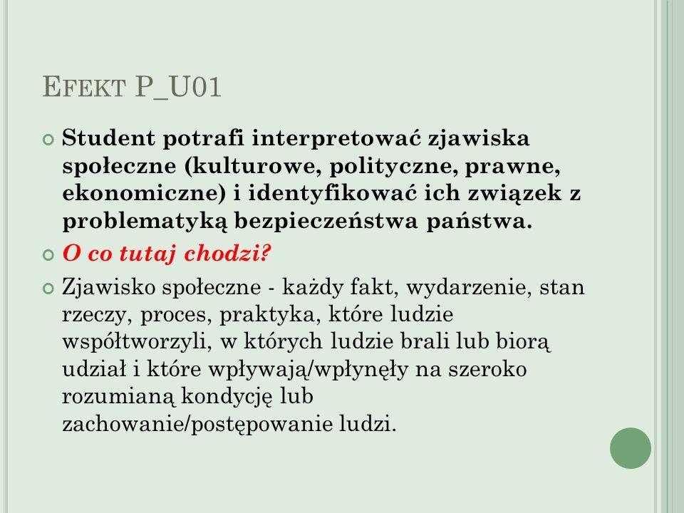 E FEKT P_U01 Student potrafi interpretować zjawiska społeczne (kulturowe, polityczne, prawne, ekonomiczne) i identyfikować ich związek z problematyką