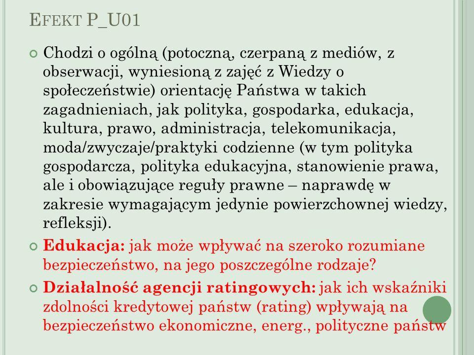E FEKT P_U01 Chodzi o ogólną (potoczną, czerpaną z mediów, z obserwacji, wyniesioną z zajęć z Wiedzy o społeczeństwie) orientację Państwa w takich zag