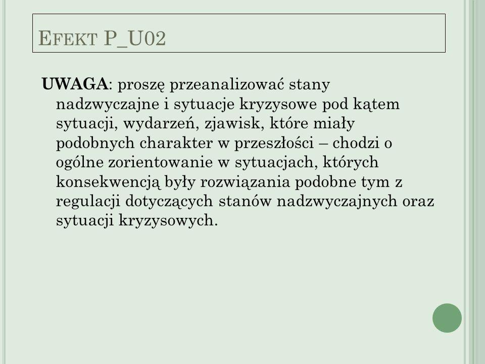 E FEKT P_U02 UWAGA : proszę przeanalizować stany nadzwyczajne i sytuacje kryzysowe pod kątem sytuacji, wydarzeń, zjawisk, które miały podobnych charak
