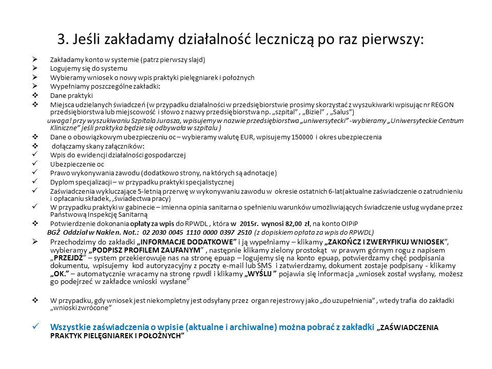 3. Jeśli zakładamy działalność leczniczą po raz pierwszy:  Zakładamy konto w systemie (patrz pierwszy slajd)  Logujemy się do systemu  Wybieramy wn