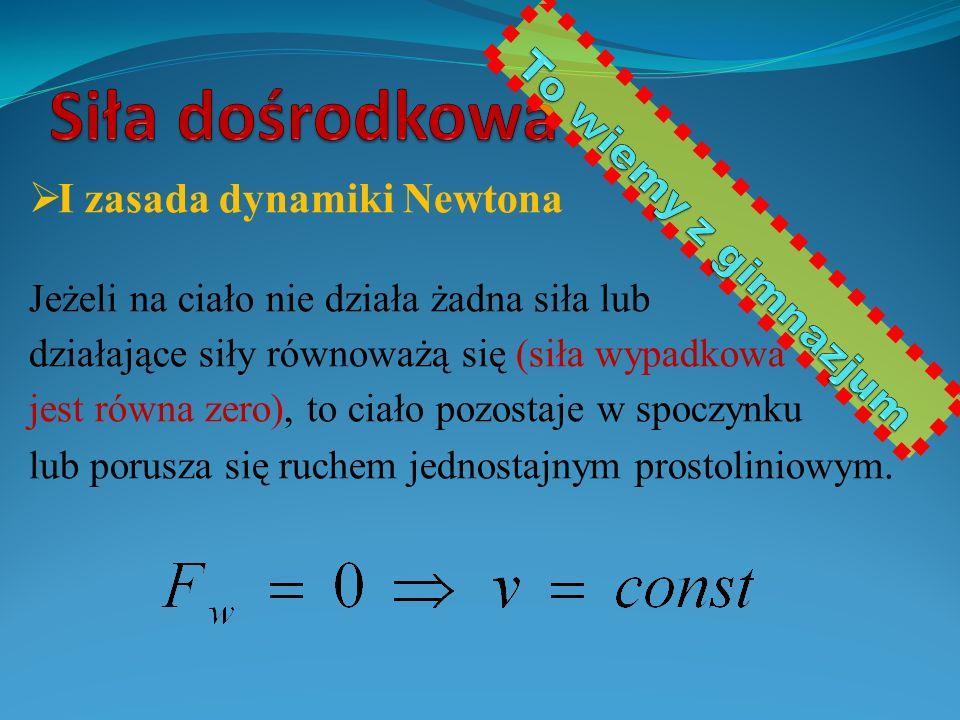  I zasada dynamiki Newtona Jeżeli na ciało nie działa żadna siła lub działające siły równoważą się (siła wypadkowa jest równa zero), to ciało pozostaje w spoczynku lub porusza się ruchem jednostajnym prostoliniowym.
