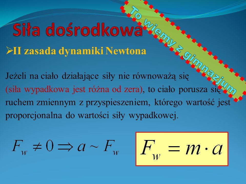  II zasada dynamiki Newtona Jeżeli na ciało działające siły nie równoważą się (siła wypadkowa jest różna od zera), to ciało porusza się ruchem zmienn
