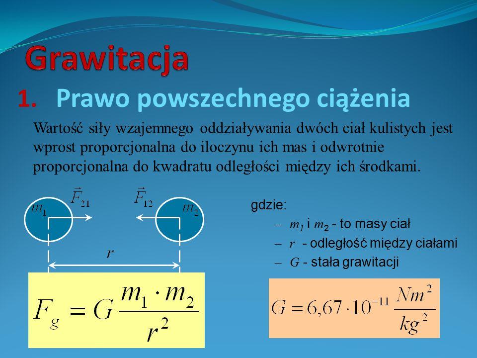 1. Prawo powszechnego ciążenia Wartość siły wzajemnego oddziaływania dwóch ciał kulistych jest wprost proporcjonalna do iloczynu ich mas i odwrotnie p