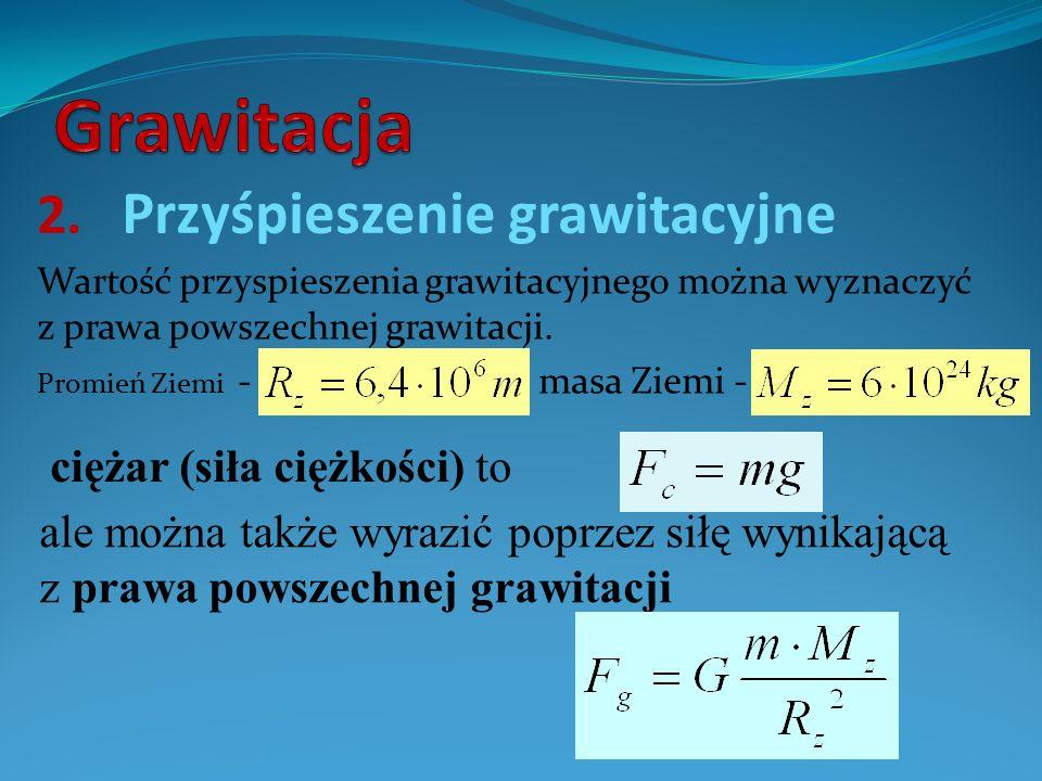 2. Przyśpieszenie grawitacyjne Wartość przyspieszenia grawitacyjnego można wyznaczyć z prawa powszechnej grawitacji. Promień Ziemi - masa Ziemi - ale