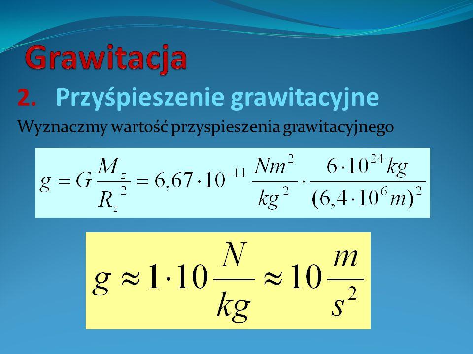 2. Przyśpieszenie grawitacyjne Wyznaczmy wartość przyspieszenia grawitacyjnego