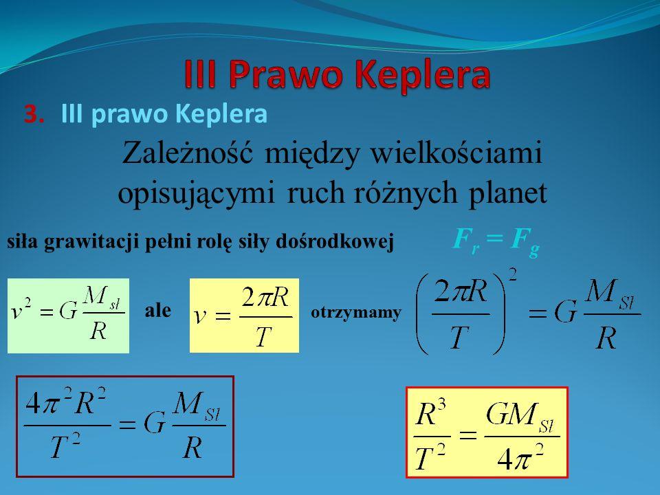 3. III prawo Keplera Zależność między wielkościami opisującymi ruch różnych planet siła grawitacji pełni rolę siły dośrodkowej F r = F g ale otrzymamy
