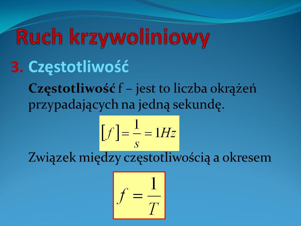 3. Częstotliwość Częstotliwość f – jest to liczba okrążeń przypadających na jedną sekundę. Związek między częstotliwością a okresem