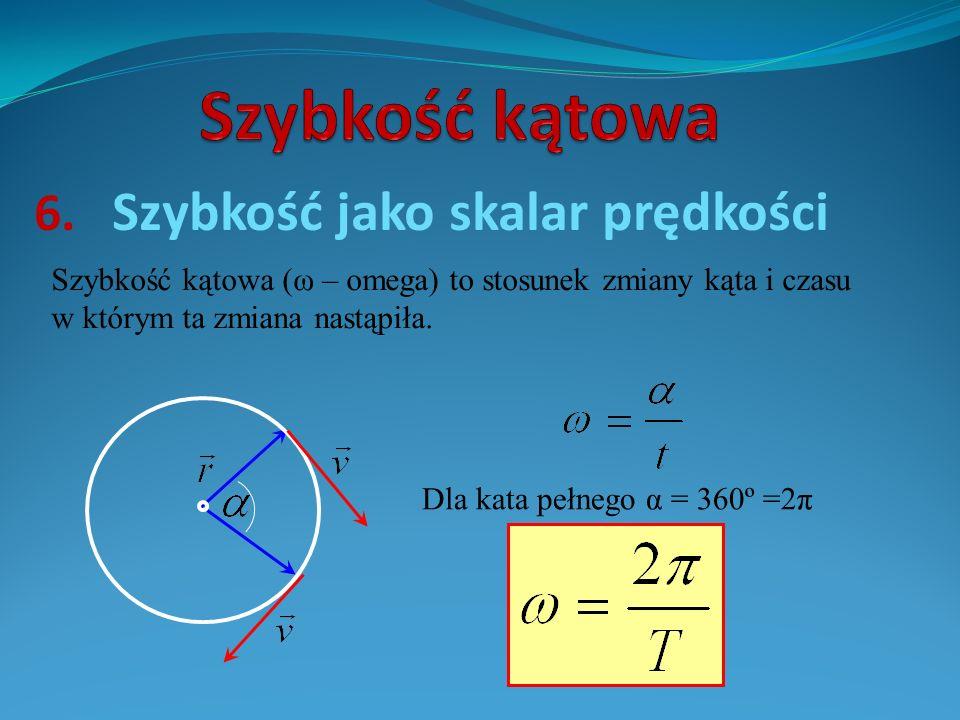 6. Szybkość jako skalar prędkości Szybkość kątowa (ω – omega) to stosunek zmiany kąta i czasu w którym ta zmiana nastąpiła. Dla kata pełnego α = 360º