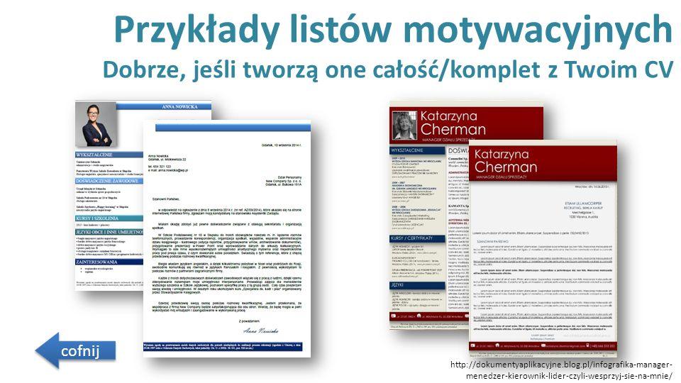 Przykłady listów motywacyjnych Dobrze, jeśli tworzą one całość/komplet z Twoim CV cofnij http://dokumentyaplikacyjne.blog.pl/infografika-manager- mene
