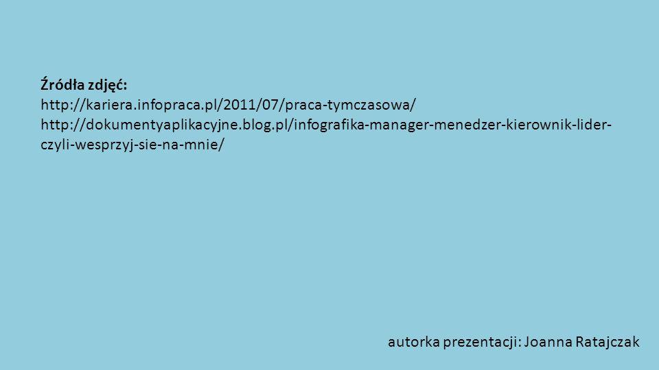 Źródła zdjęć: http://kariera.infopraca.pl/2011/07/praca-tymczasowa/ http://dokumentyaplikacyjne.blog.pl/infografika-manager-menedzer-kierownik-lider-