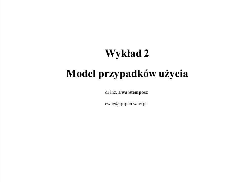 E. Stemposz. UML i Analiza Obiektowa, Wykład 2, Slajd 1/42 Wykład 2 Model przypadków użycia dr inż. Ewa Stemposz ewag@ipipan.waw.pl
