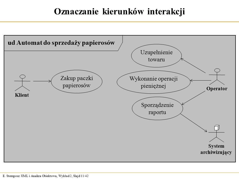 E. Stemposz. UML i Analiza Obiektowa, Wykład 2, Slajd 11/42 Oznaczanie kierunków interakcji ud Automat do sprzedaży papierosów Zakup paczki papierosów