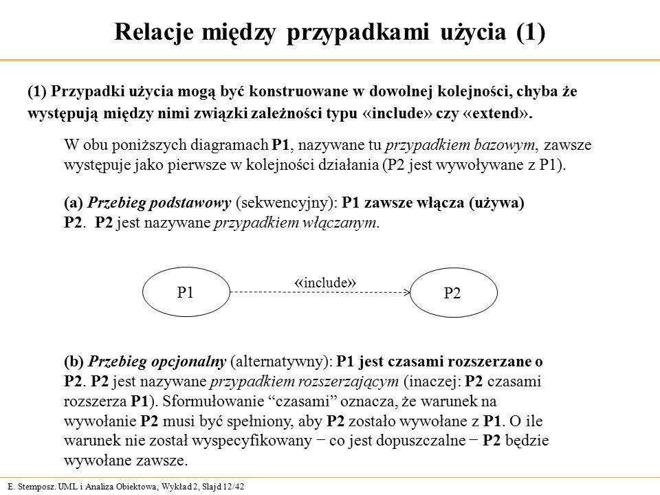 E. Stemposz. UML i Analiza Obiektowa, Wykład 2, Slajd 12/42 Relacje między przypadkami użycia (1) (1) Przypadki użycia mogą być konstruowane w dowolne
