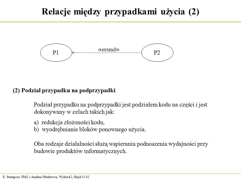 E. Stemposz. UML i Analiza Obiektowa, Wykład 2, Slajd 13/42 Relacje między przypadkami użycia (2) P1 P2 « extend » Podział przypadku na podprzypadki j