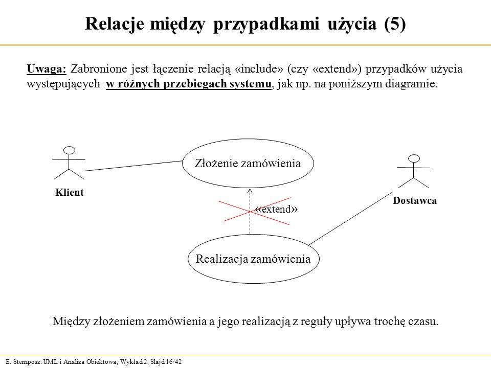 E. Stemposz. UML i Analiza Obiektowa, Wykład 2, Slajd 16/42 Relacje między przypadkami użycia (5) Uwaga: Zabronione jest łączenie relacją «include» (c