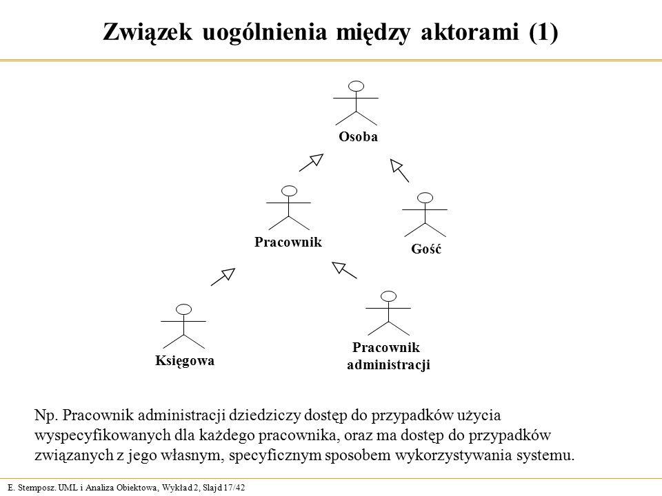 E. Stemposz. UML i Analiza Obiektowa, Wykład 2, Slajd 17/42 Związek uogólnienia między aktorami (1) Np. Pracownik administracji dziedziczy dostęp do p