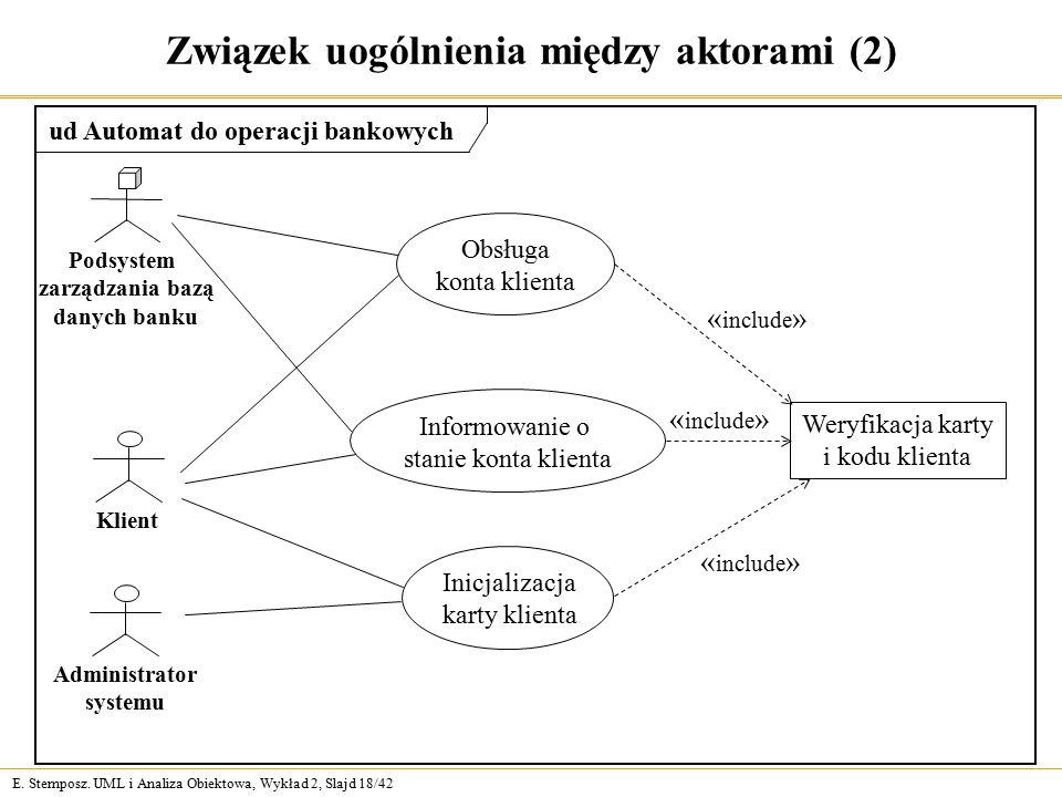 E. Stemposz. UML i Analiza Obiektowa, Wykład 2, Slajd 18/42 Związek uogólnienia między aktorami (2) Obsługa konta klienta Informowanie o stanie konta