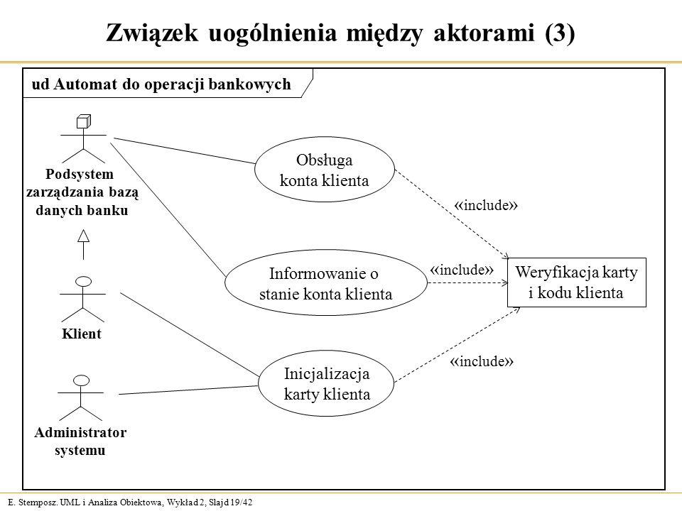 E. Stemposz. UML i Analiza Obiektowa, Wykład 2, Slajd 19/42 Związek uogólnienia między aktorami (3) Obsługa konta klienta Informowanie o stanie konta
