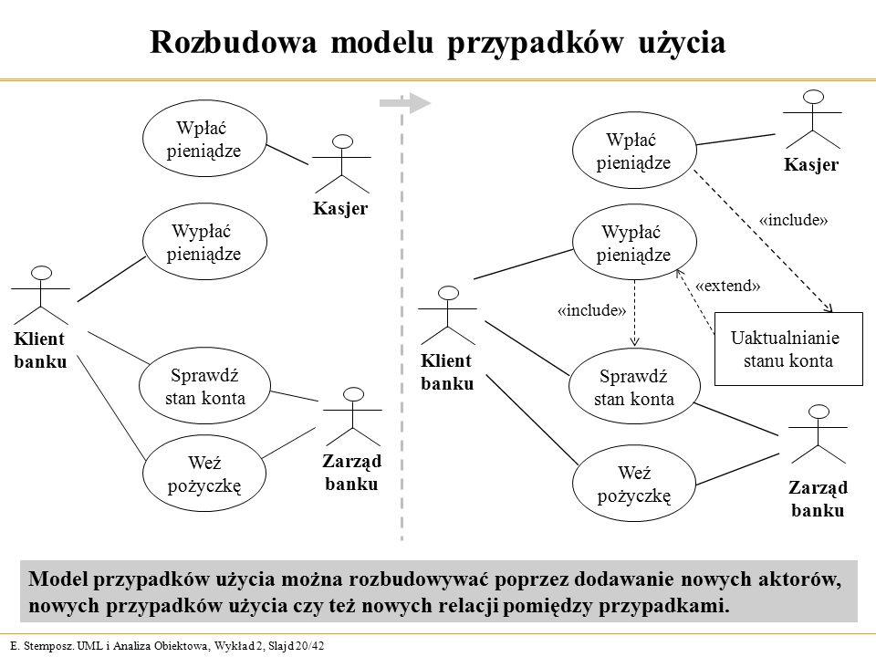 E. Stemposz. UML i Analiza Obiektowa, Wykład 2, Slajd 20/42 Rozbudowa modelu przypadków użycia Model przypadków użycia można rozbudowywać poprzez doda