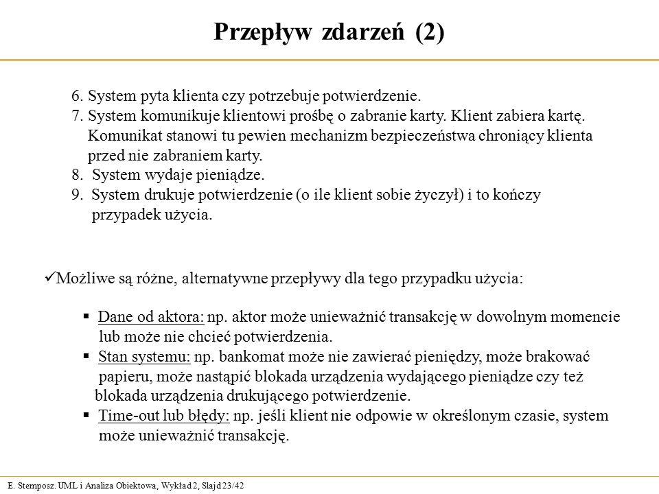 E. Stemposz. UML i Analiza Obiektowa, Wykład 2, Slajd 23/42 Przepływ zdarzeń (2) 6. System pyta klienta czy potrzebuje potwierdzenie. 7. System komuni
