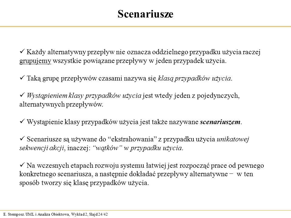 E. Stemposz. UML i Analiza Obiektowa, Wykład 2, Slajd 24/42 Scenariusze Każdy alternatywny przepływ nie oznacza oddzielnego przypadku użycia raczej gr