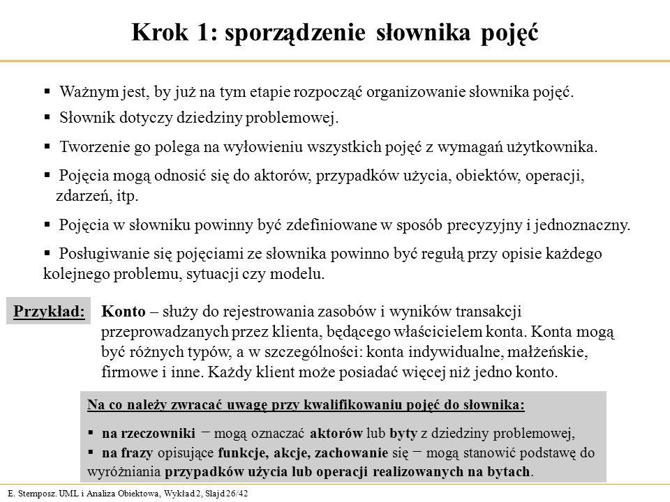 E. Stemposz. UML i Analiza Obiektowa, Wykład 2, Slajd 26/42 Krok 1: sporządzenie słownika pojęć  Słownik dotyczy dziedziny problemowej.  Tworzenie g