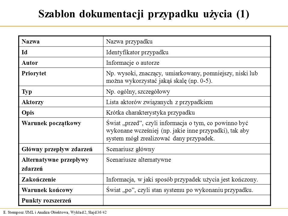 E. Stemposz. UML i Analiza Obiektowa, Wykład 2, Slajd 36/42 Szablon dokumentacji przypadku użycia (1) NazwaNazwa przypadku IdIdentyfikator przypadku A