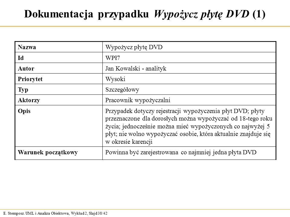 E. Stemposz. UML i Analiza Obiektowa, Wykład 2, Slajd 38/42 Dokumentacja przypadku Wypożycz płytę DVD (1) NazwaWypożycz płytę DVD IdIdWPł7 AutorJan Ko