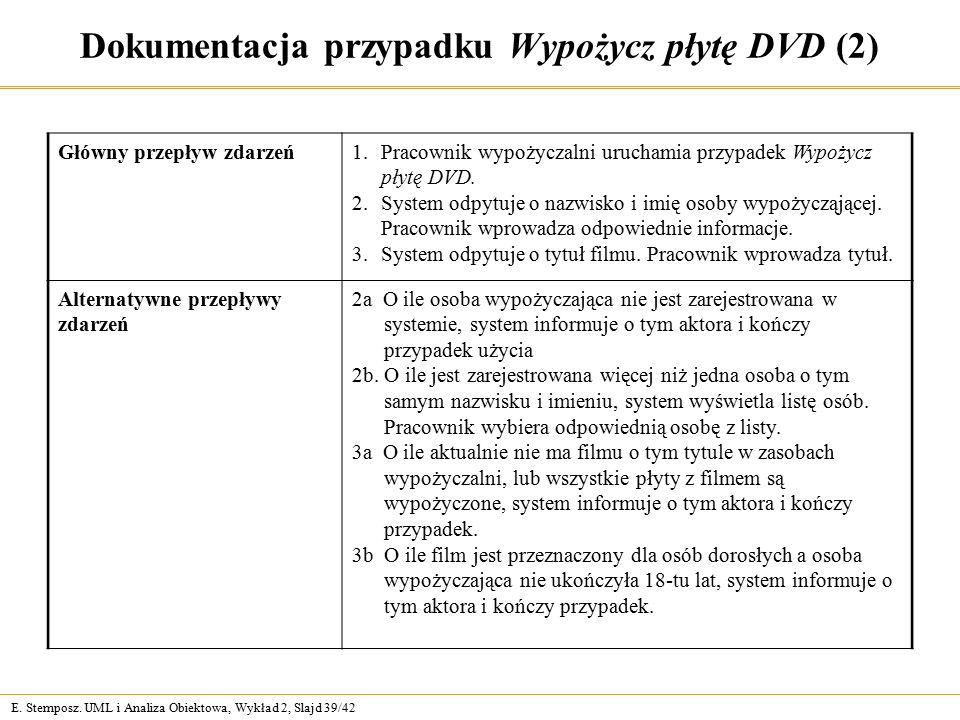 E. Stemposz. UML i Analiza Obiektowa, Wykład 2, Slajd 39/42 Dokumentacja przypadku Wypożycz płytę DVD (2) Główny przepływ zdarzeń1.Pracownik wypożycza