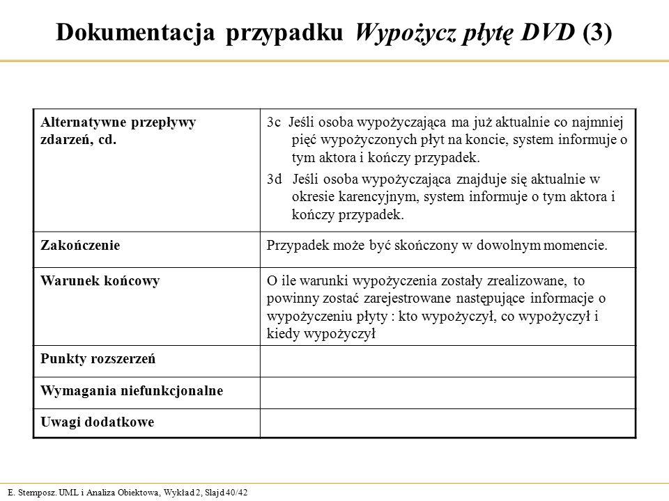E. Stemposz. UML i Analiza Obiektowa, Wykład 2, Slajd 40/42 Dokumentacja przypadku Wypożycz płytę DVD (3) Alternatywne przepływy zdarzeń, cd. 3c Jeśli