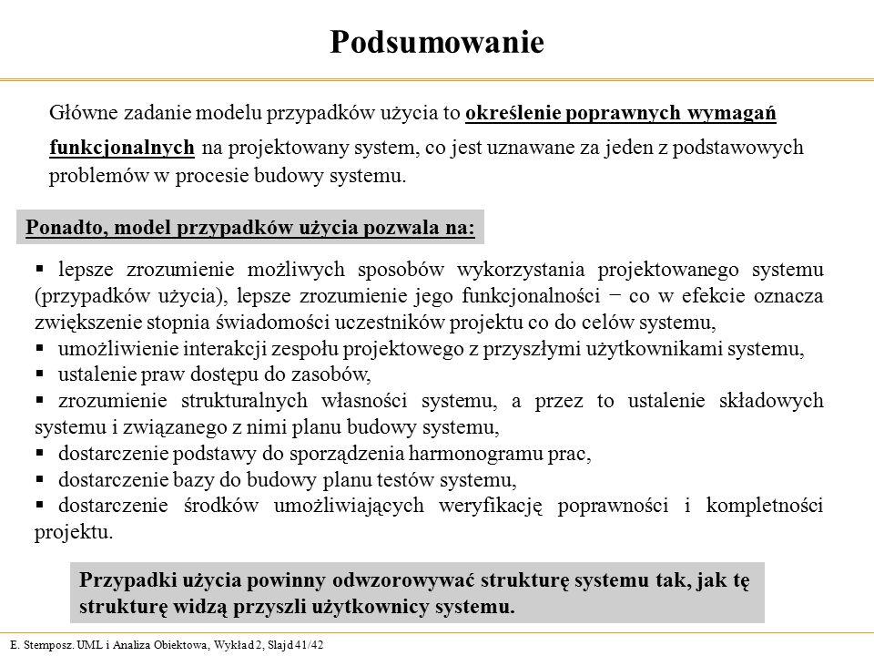 E. Stemposz. UML i Analiza Obiektowa, Wykład 2, Slajd 41/42 Podsumowanie Główne zadanie modelu przypadków użycia to określenie poprawnych wymagań funk