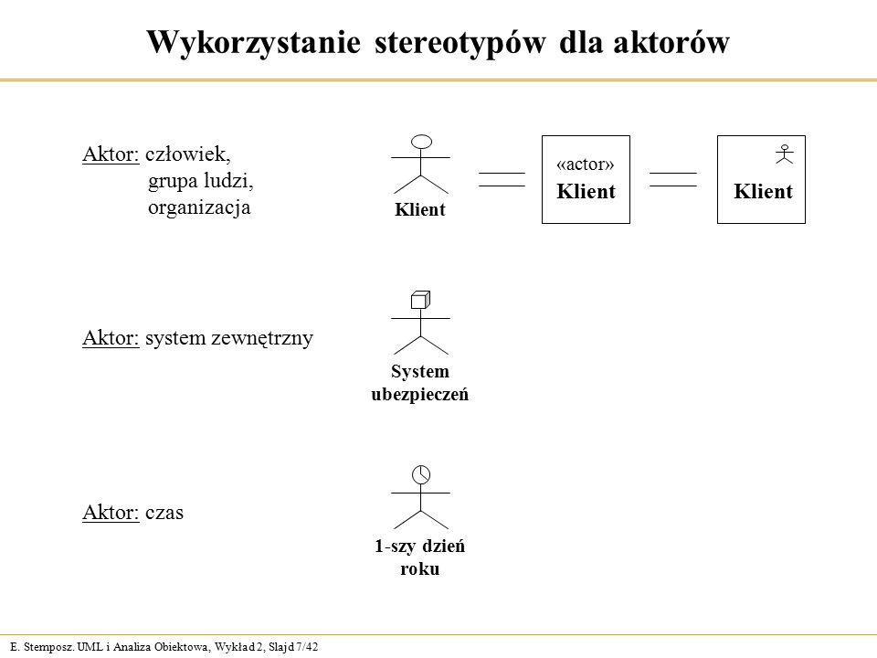 E. Stemposz. UML i Analiza Obiektowa, Wykład 2, Slajd 7/42 Wykorzystanie stereotypów dla aktorów Aktor: system zewnętrzny System ubezpieczeń Aktor: cz