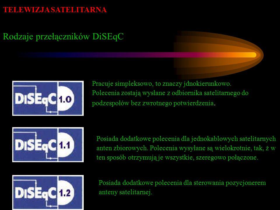 TELEWIZJA SATELITARNA Rodzaje przełączników DiSEqC Pracuje simpleksowo, to znaczy jdnokierunkowo. Polecenia zostają wysłane z odbiornika satelitarnego