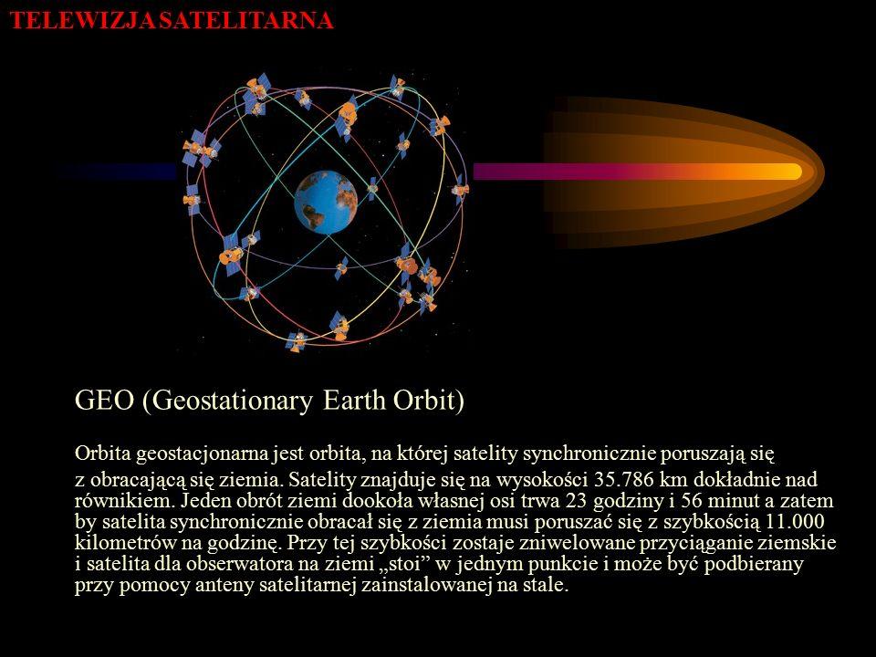 TELEWIZJA SATELITARNA GEO (Geostationary Earth Orbit) Orbita geostacjonarna jest orbita, na której satelity synchronicznie poruszają się z obracającą się ziemia.
