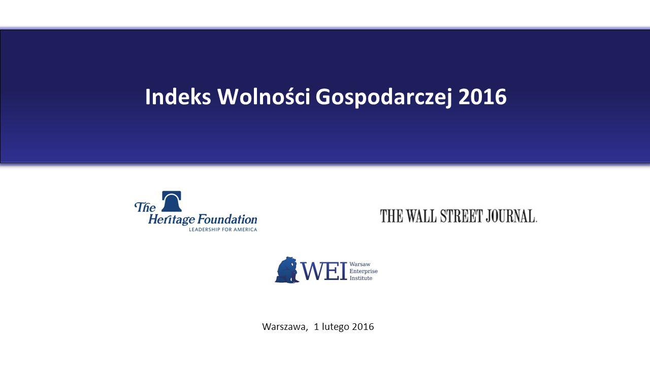 Indeks Wolności Gospodarczej 2016 Warszawa, 1 lutego 2016