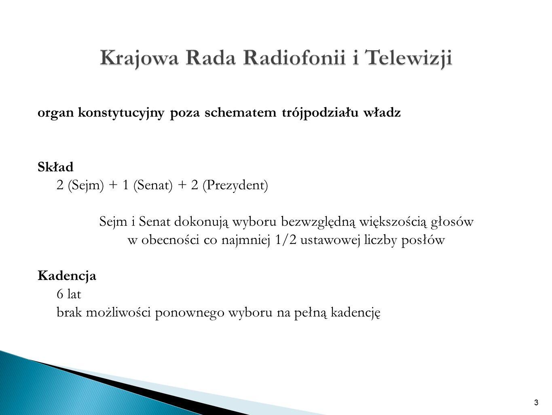 organ konstytucyjny poza schematem trójpodziału władz Skład 2 (Sejm) + 1 (Senat) + 2 (Prezydent) Sejm i Senat dokonują wyboru bezwzględną większością głosów w obecności co najmniej 1/2 ustawowej liczby posłów Kadencja 6 lat brak możliwości ponownego wyboru na pełną kadencję 3