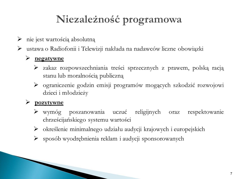  nie jest wartością absolutną  ustawa o Radiofonii i Telewizji nakłada na nadawców liczne obowiązki  negatywne  zakaz rozpowszechniania treści sprzecznych z prawem, polską racją stanu lub moralnością publiczną  ograniczenie godzin emisji programów mogących szkodzić rozwojowi dzieci i młodzieży  pozytywne  wymóg poszanowania uczuć religijnych oraz respektowanie chrześcijańskiego systemu wartości  określenie minimalnego udziału audycji krajowych i europejskich  sposób wyodrębnienia reklam i audycji sponsorowanych 7