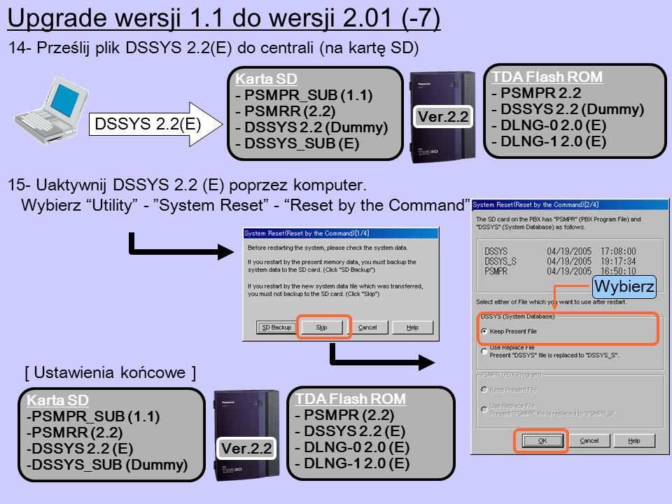 14- Prześlij plik DSSYS 2.2(E) do centrali (na kartę SD) DSSYS 2.2(E) Karta SD - PSMPR_SUB (1.1) - PSMRR (2.2) - DSSYS 2.2 (Dummy) - DSSYS_SUB (E) TDA Flash ROM - PSMPR 2.2 - DSSYS 2.2 (Dummy) - DLNG-0 2.0 (E) - DLNG-1 2.0 (E) Ver.2.2 15- Uaktywnij DSSYS 2.2 (E) poprzez komputer.
