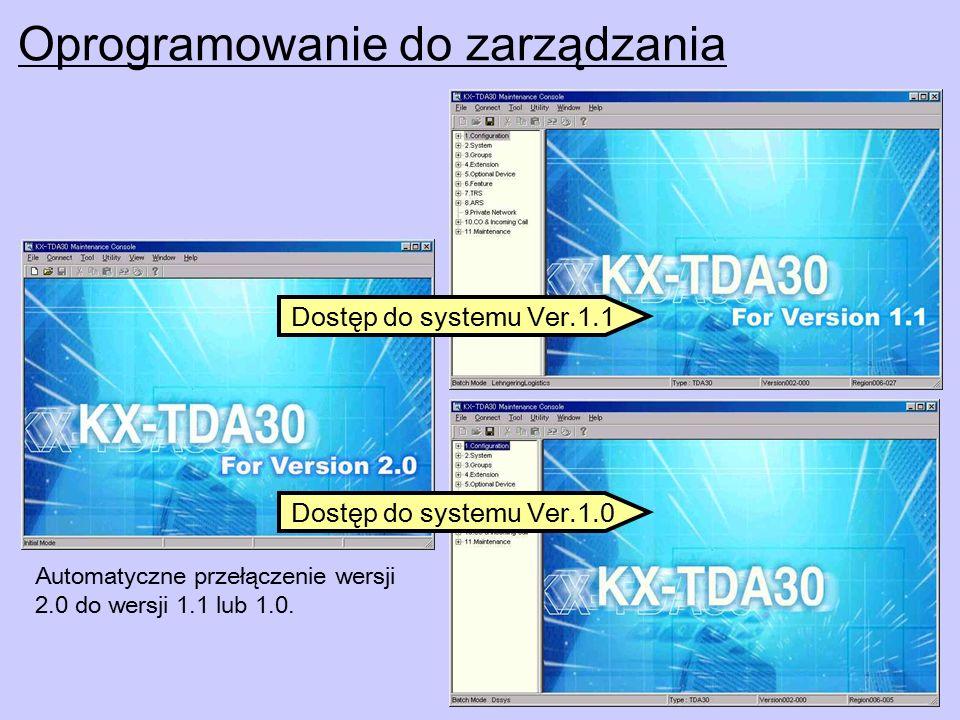 Oprogramowanie do zarządzania Automatyczne przełączenie wersji 2.0 do wersji 1.1 lub 1.0.