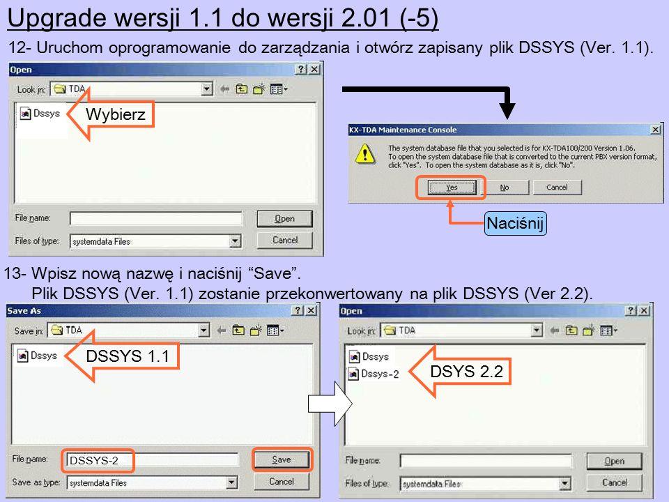 Upgrade wersji 1.1 do wersji 2.01 (-6) Ważne : Elastyczny numer wewnętrzny SVM nie jest przypisany.