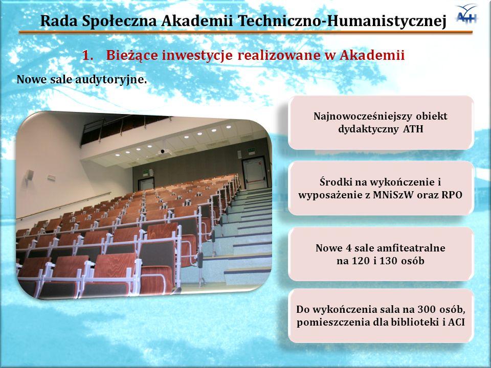Rada Społeczna Akademii Techniczno-Humanistycznej 1.Bieżące inwestycje realizowane w Akademii Nowe sale audytoryjne.